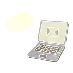 retro speech bubble cartoon laptop computer with message symbol