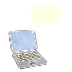retro speech bubble cartoon laptop computer