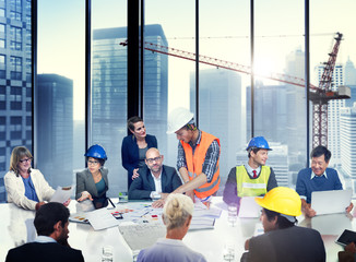 Group of Architect and Engineer Discussion
