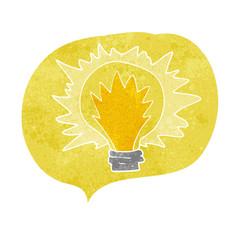 retro speech bubble cartoon light bulb