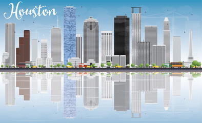 Houston Skyline with Gray Buildings, Blue Sky and Reflections.