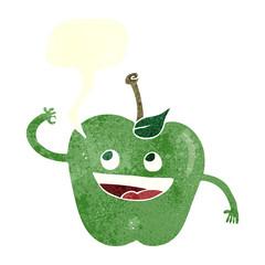 retro speech bubble cartoon apple