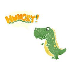 retro speech bubble cartoon hungry dinosaur