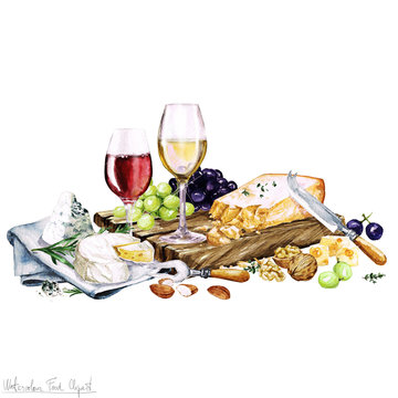 Watercolor Food - Cheese Board and Wine