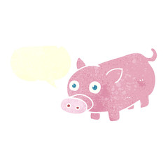 retro speech bubble cartoon piglet