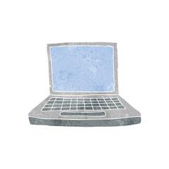 retro cartoon laptop computer