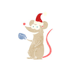 retro cartoon mouse wearing christmas hat