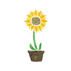 retro cartoon sunflower