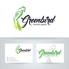 Green bird vector logo with business card template