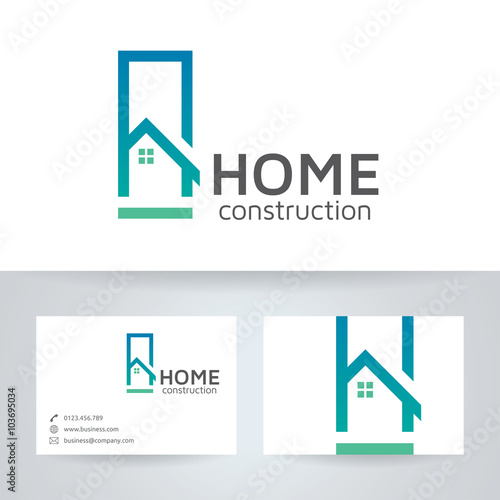Home Construction Vector Logo With Business Card Template Stock - Free construction business cards templates