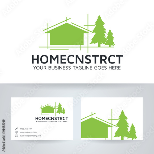 Home construction vector logo with business card template stock home construction vector logo with business card template accmission