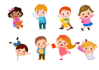 Kids go to school, back to school, Cute cartoon children, happy children, Vector Illustration.