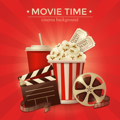 Cinema concept poster with popcorn bowl, film strip and tickets, realistic detailed vector illustration