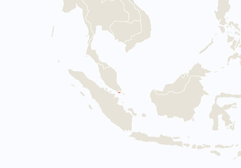 Asia with highlighted Singapore map.