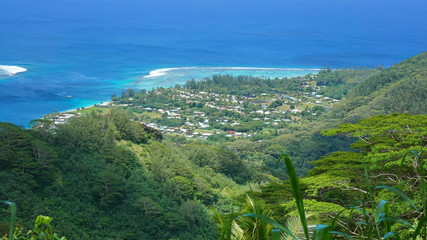 View over the village of Fare from the mount Turi, Huahine Nui island, Pacific ocean, French Polynesia