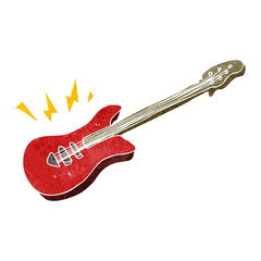 retro cartoon electric guitar