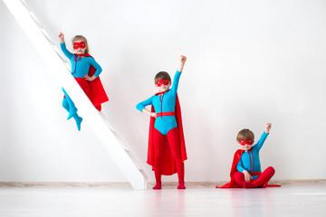 Funny little Kids power super hero.
