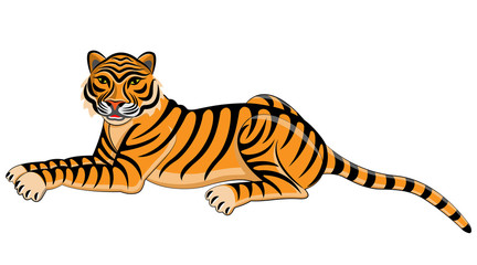Tiger. Isolated animal. Vector illustration.
