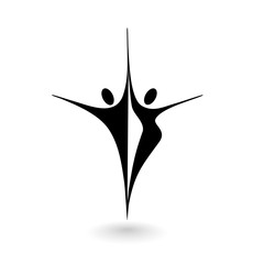 Stylized logo with a male and female figure