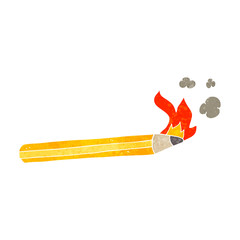 retro cartoon flaming pencil