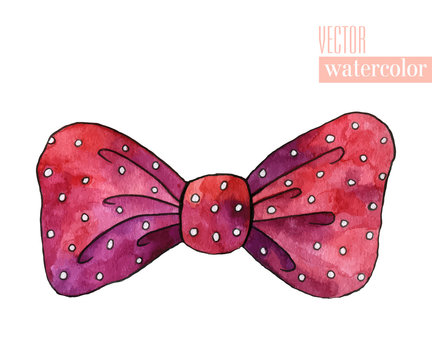 Illustration of red watercolor bow with polka pattern