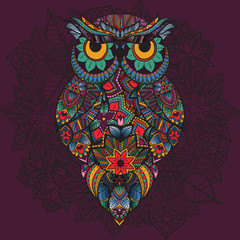 illustration of ornamental owl. Bird illustrated in tribal.