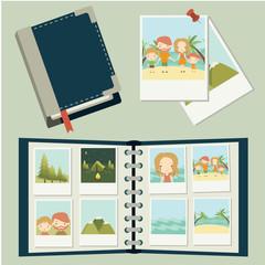 Photo set. Family traveling, vacation. Photos, photo album. Vector
