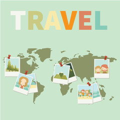 Vector illustration of the map with attached photos from the trip.Traveling, vacation