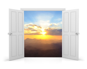 3d white double door on white background