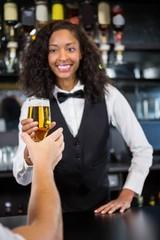 Beautiful barmaid serving beer to man