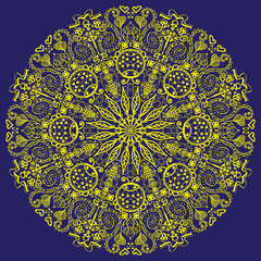 Mandala in blue background Image mandala resembles a very delicate snowflake yellow on a blue background a complex pattern of butterflies, ladybugs, flowers