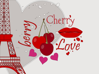 Collage from the Eiffel Tower, a cherry and a kiss. Romantic collage. Paris. France. Contemporary art. Vector illustration.