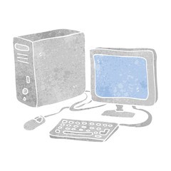 retro cartoon computer