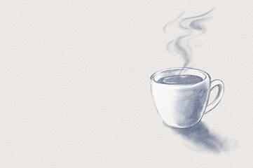 Coffee cup. Digital monotone drawing for your design. Space for text.