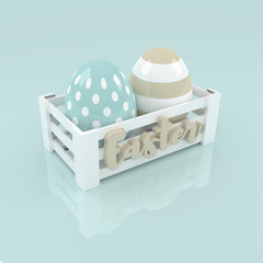 3d pastel Easter eggs in wooden box
