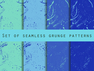 Seamless pattern in grunge style. Seamless pattern with blots and strokes. Set. For wallpaper, bed linen, tiles, fabrics, backgrounds. Vector texture.