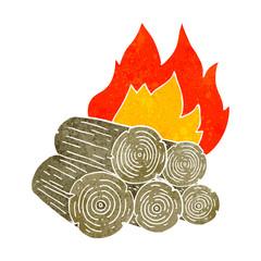 retro cartoon burning logs