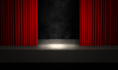 Smoky stage with red curtains