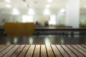 Wood table top blur office