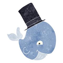 retro cartoon whale in top hat