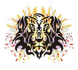 Tribal tiger head splashes. Grunge old tiger head with colorful splashes and blood drops