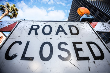 Road Closed sign on the street