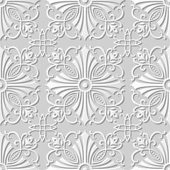 Vector damask seamless 3D paper art pattern background 099 Cross Spiral Vine