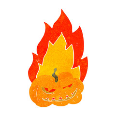 retro cartoon flaming halloween pumpkin