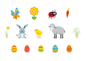 Easter icon on white background. Set Isolated on white background. Easter cartoon. Vector illustration of Easter. Easter set characters. Easter vector icons. Collection spring theme. Spring objects