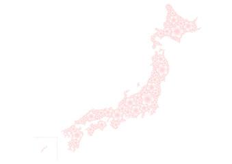 日本地図 桜イメージ