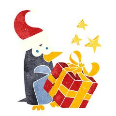 retro cartoon christmas penguin with present