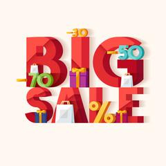Big sale concept. Typographic poster.