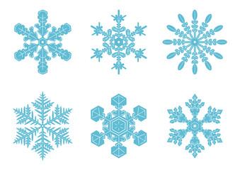 雪の結晶 イラスト セット 青