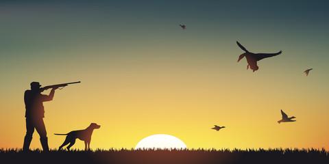 CHASSE Canard - Coucher de soleil